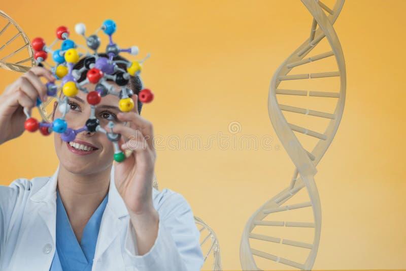 Doktorskvinna som rymmer ett medicinskt diagram med tråden för DNA 3D mot gul bakgrund royaltyfri fotografi