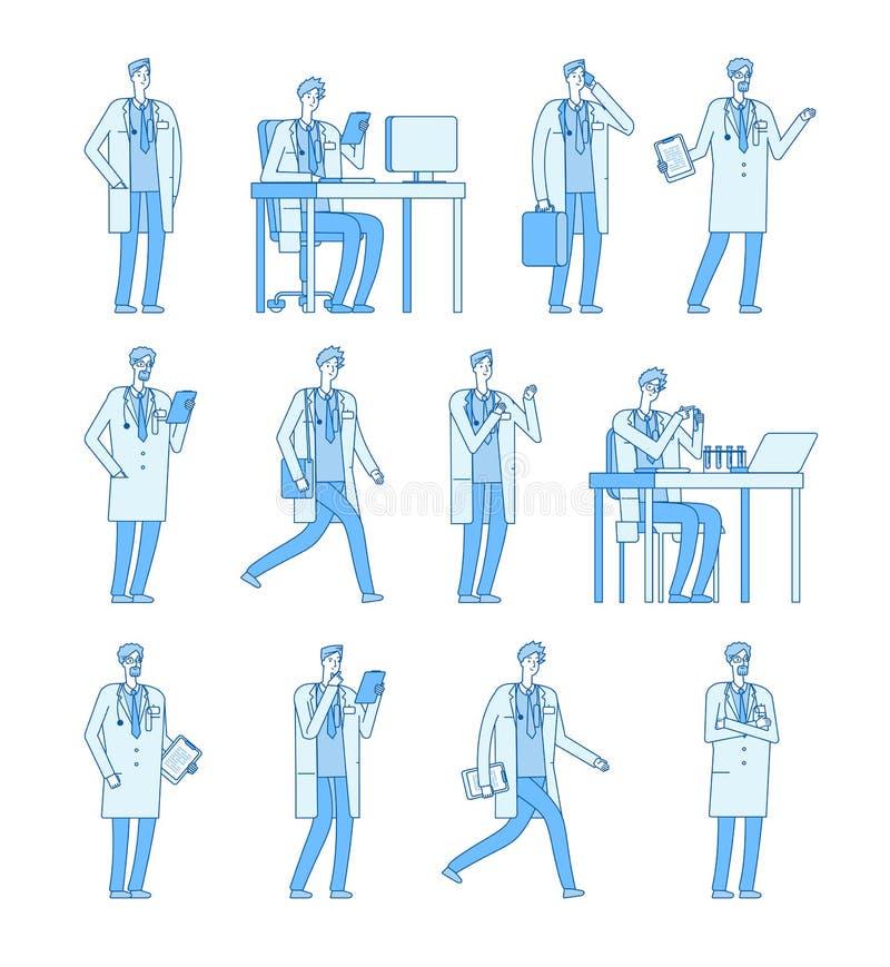 Doktorsmantecken Linje plant tecknad filmtecken - uppsättning för vektor för chef för tandläkare för medicinfolkdoktorer vård- vektor illustrationer