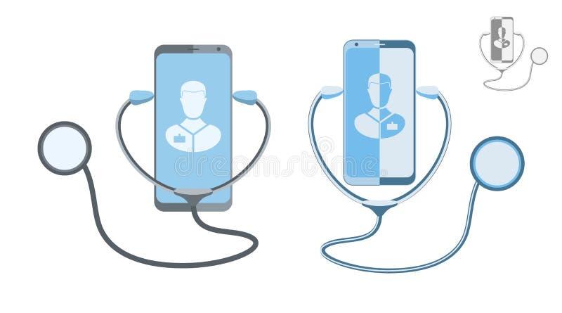 Doktorsonline-begrepp Online-kommunikation för medicinsk klinik med en patient också vektor för coreldrawillustration royaltyfri illustrationer
