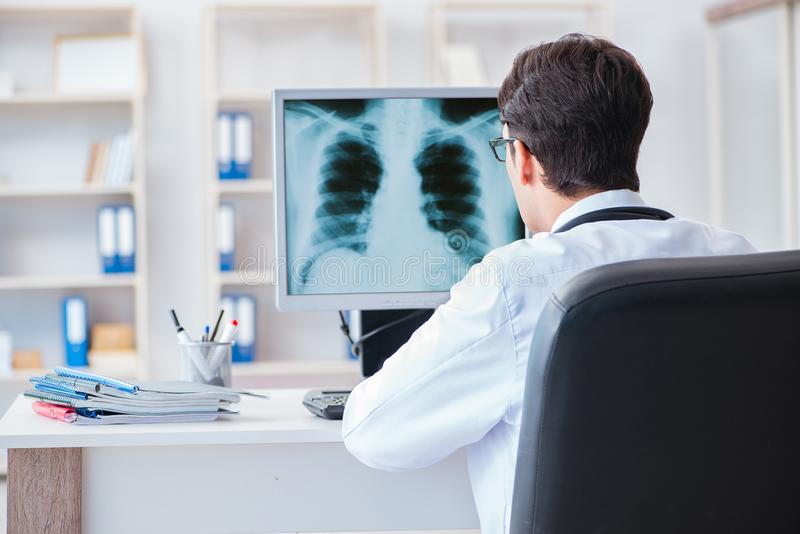 Doktorsradiologen som ser röntgenstrålebilder royaltyfri fotografi