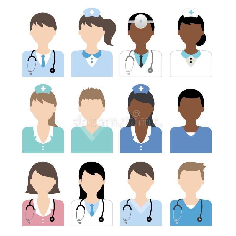 Doktorssjuksköterskasymbol vektor illustrationer