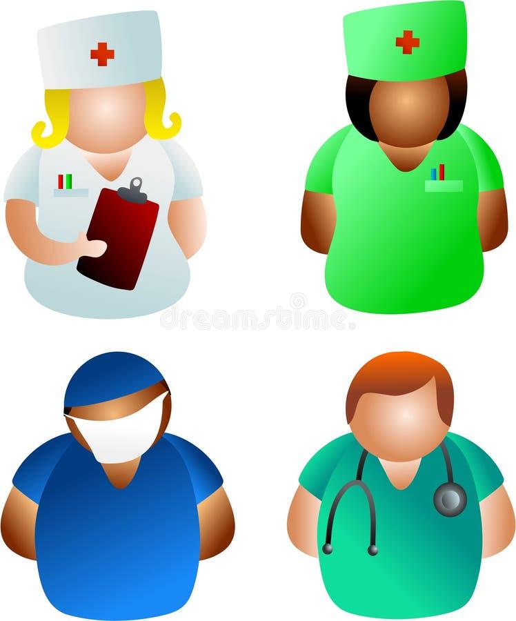 doktorssjuksköterskor royaltyfri illustrationer