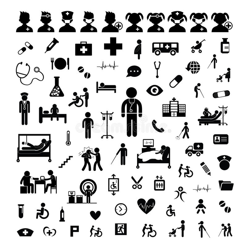 Doktorssymbol och sjukhus royaltyfri illustrationer