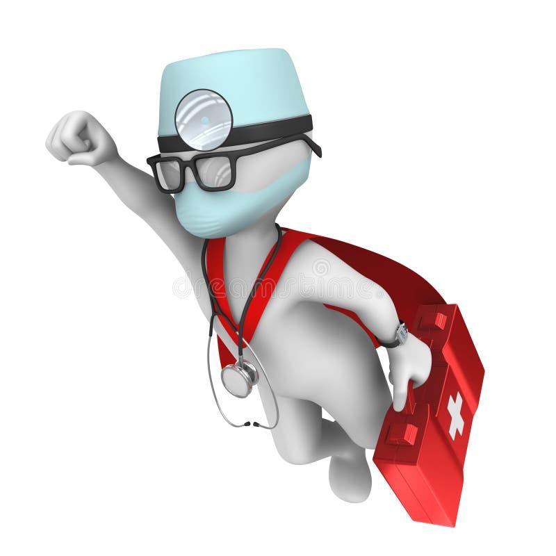 doktorze 3 d super śliczny postać z kreskówki bohater ilustracja wektor