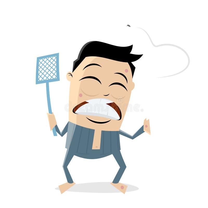Dokuczający azjatykci mężczyzna tropi komara ilustracja wektor