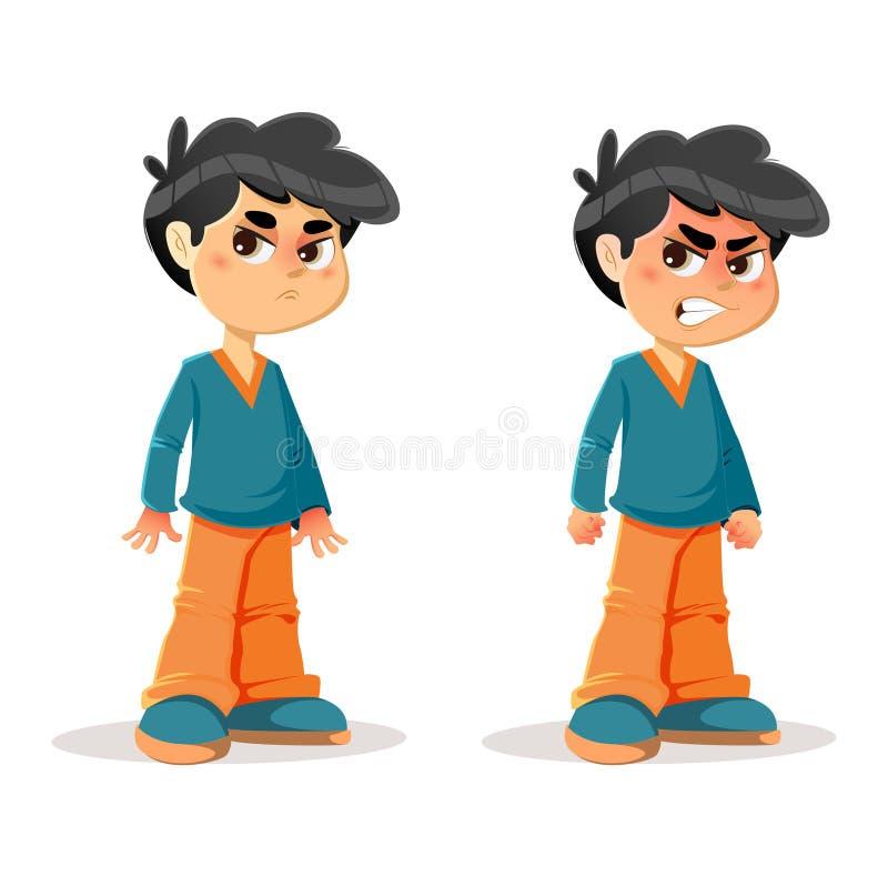 Dokuczający Gniewni Młodzi chłopiec wyrażenia ilustracji
