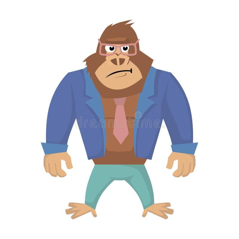 Dokuczający goryl Wektorowa ilustracja goryl kreskówka royalty ilustracja