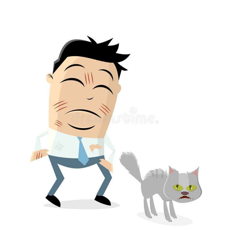 Dokuczający kreskówka mężczyzna drapający wściekłym kotem ilustracji