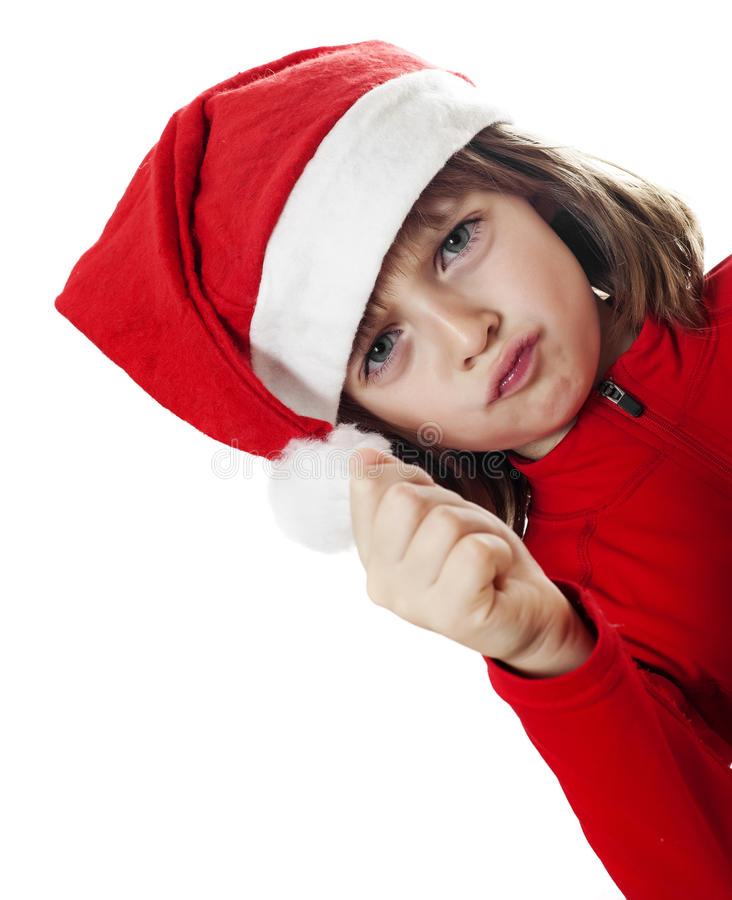 Dokuczający mały Santa fotografia stock