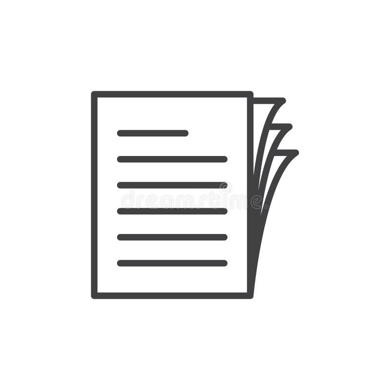 Dokumentów papierów stosu linii ikona, konturu wektoru znak, liniowy stylowy piktogram odizolowywający na bielu ilustracji