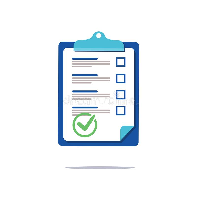 Dokument der Prenuptial Vereinbarung, Check-Listen-Klemmbrett-Soziologiekonzept, Fragebogenform, vector flache Ikone Geschäft stock abbildung