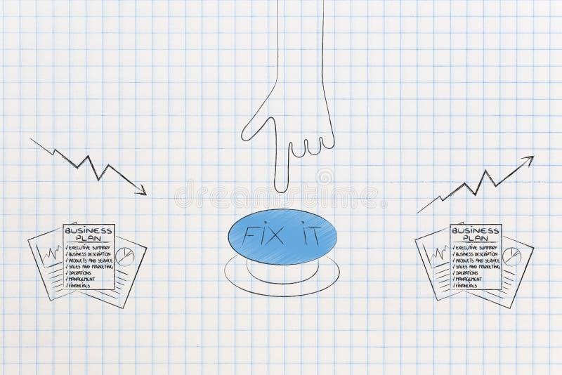 Dokument för affärsplan med den driftiga knappen för hand som fixar statistik fr stock illustrationer