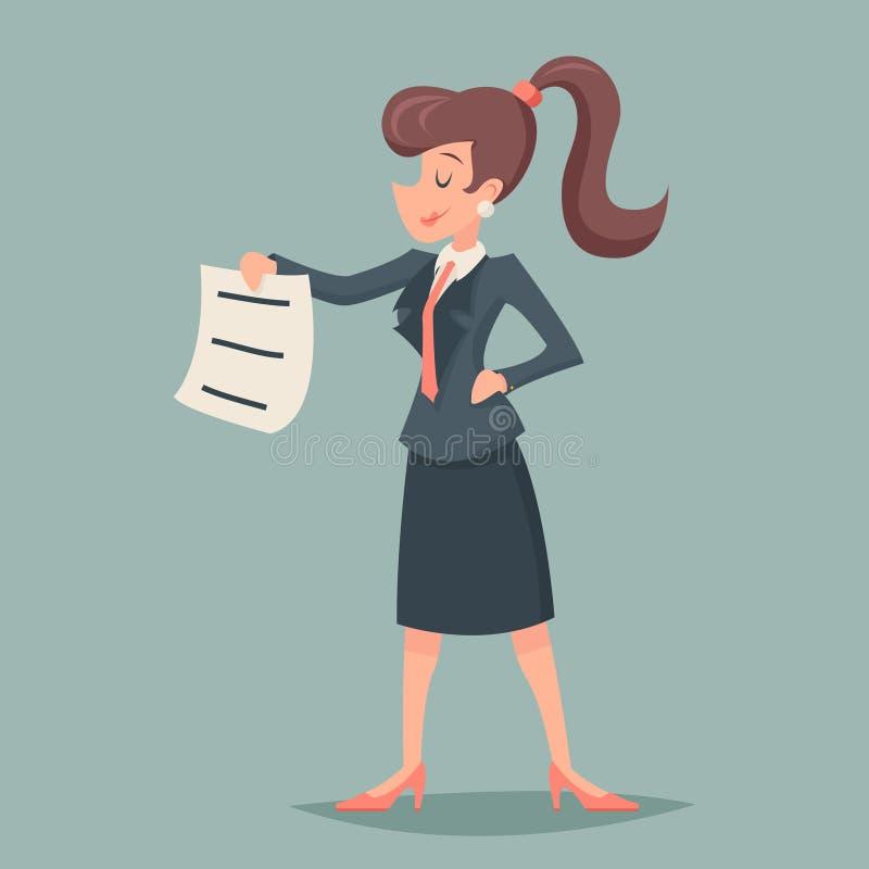 Dokument för tecken för tappningaffärskvinnaerbjudande till och med kostnadsteckensymbol på Retro tecknad filmdesign för stilfull stock illustrationer