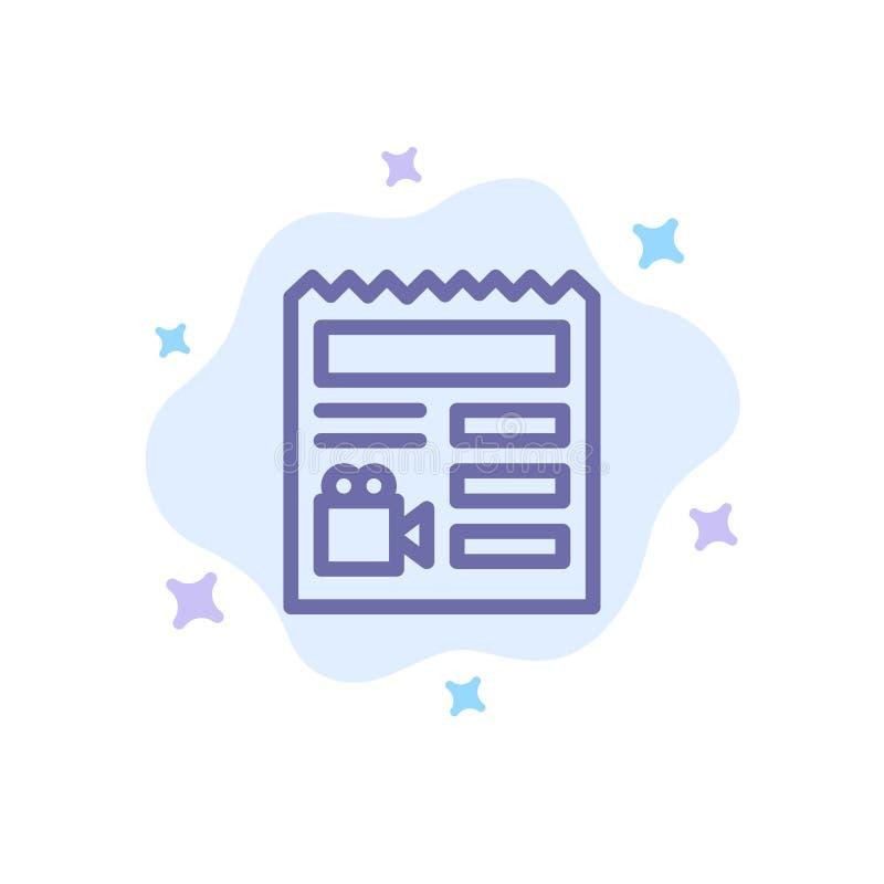 Dokument grundläggande som är videopn, blå symbol för kamera på abstrakt molnbakgrund vektor illustrationer