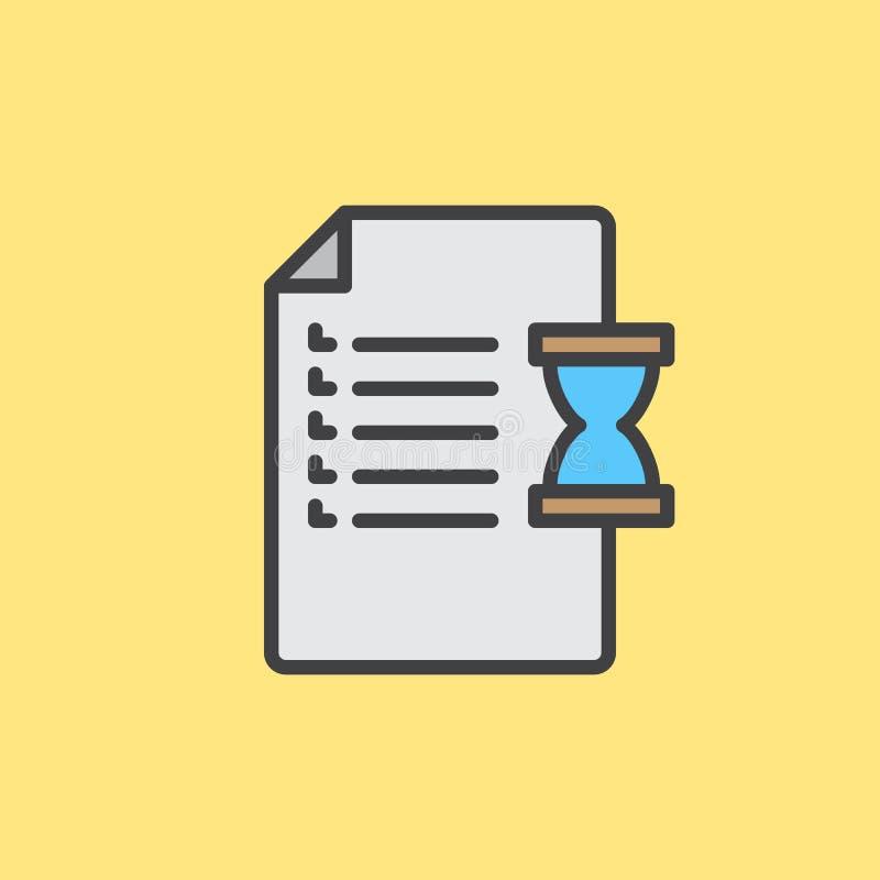 Dokument i hourglass wypełniający zarysowywamy ikonę, wektoru znak ilustracji