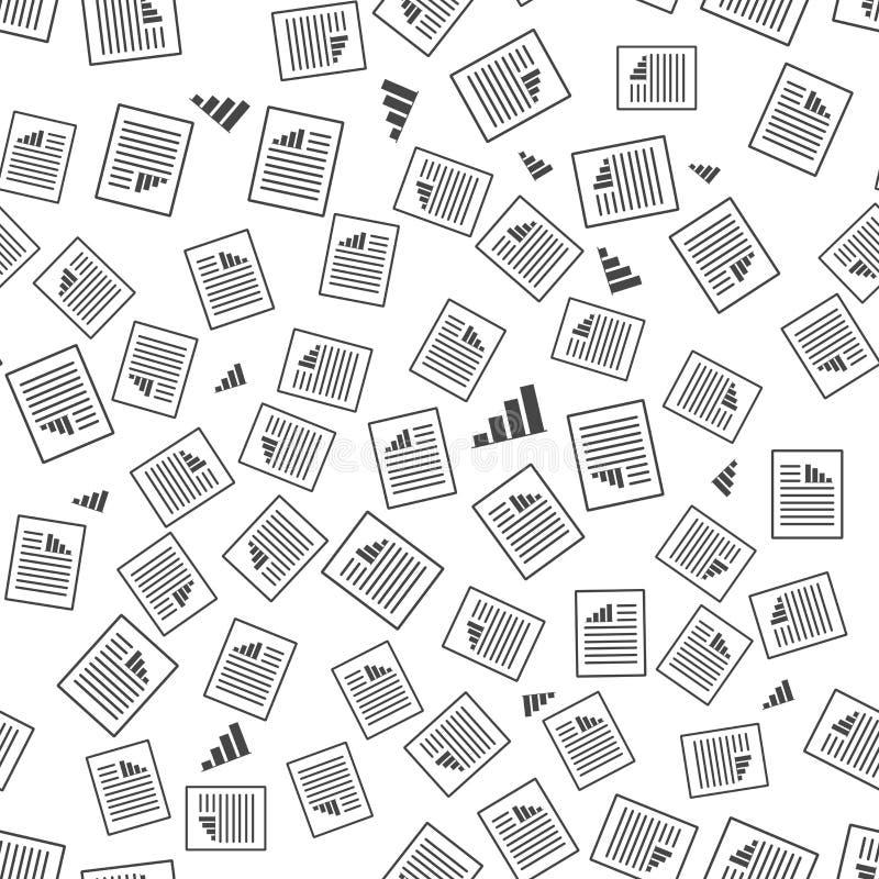Dokument ikona z stopień wzrostu i teksta niekończący się wzorem Wektorowy bezszwowy wz?r na bia?ym tle ilustracja wektor