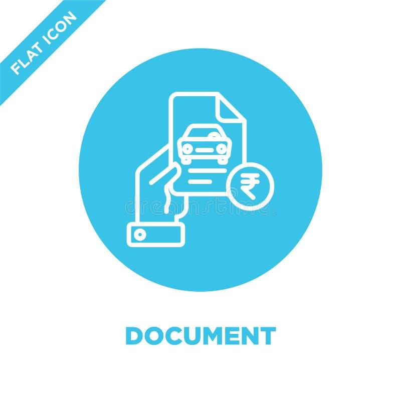 Dokument ikony wektor Cienka kreskowa dokumentu konturu ikony wektoru ilustracja dokumentuje symbol dla używa na sieci i wiszącej ilustracja wektor
