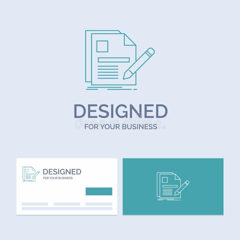 dokument, kartoteka, strona, pióro, życiorysu logo linii ikony Biznesowy symbol dla twój biznesu Turkusowe wizyt?wki z gatunku lo ilustracji