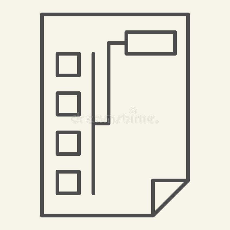 Dokument med den tunna linjen symbol för graf Papper med diagramvektorillustrationen som isoleras på vit Design för planöversikts royaltyfri illustrationer