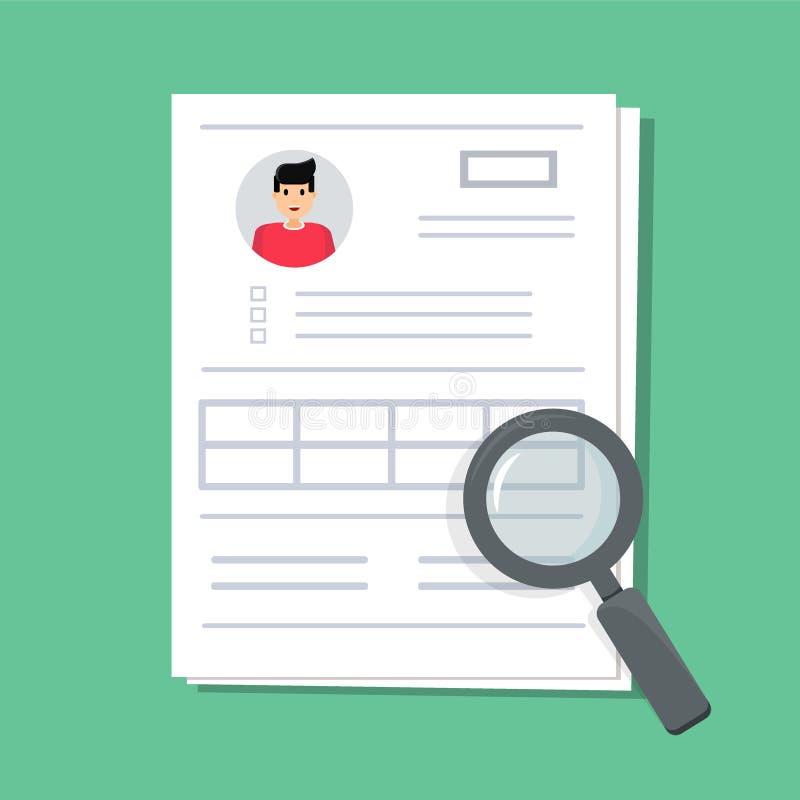 Dokument med personliga data Bunten av det pappers- dokumentet med data för användareprofil och fotoet under förstoringsapparaten royaltyfri illustrationer