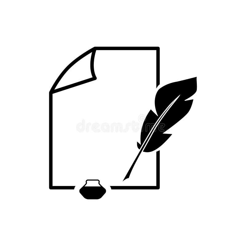 Dokument med symboler för pennfjäder av översikten vektor illustrationer