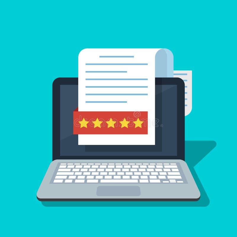 Dokument mit einer Bewertung oder Rückruf auf dem Laptopschirm Bewertung, Bericht in Form von Sternen Flaches Karikaturnotizbuch  lizenzfreie abbildung