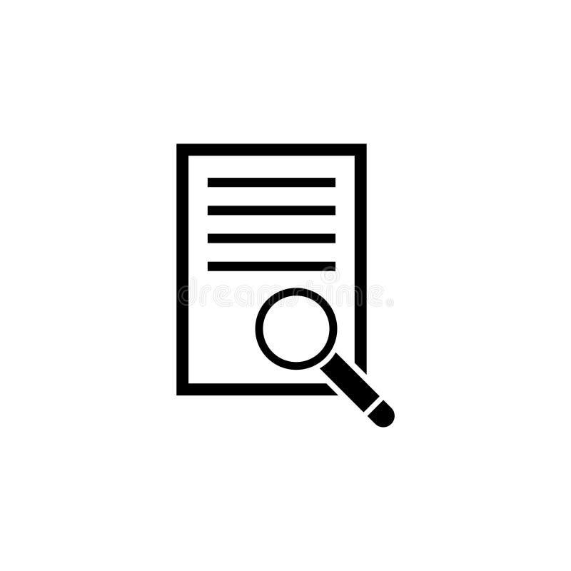 Dokument mit Lupen-flacher Vektor-Ikone vektor abbildung