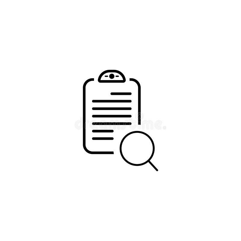 Dokument mit Suchikone Vektor-einfaches Symbol stock abbildung