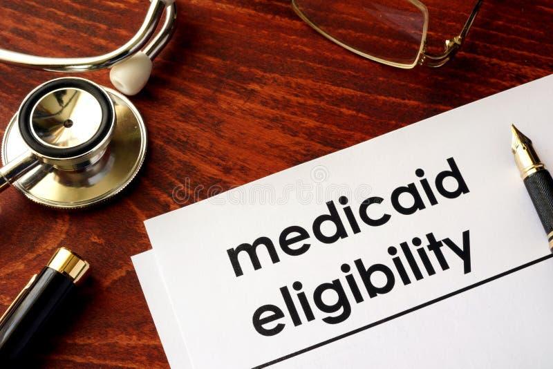Dokument mit Titel Medicaid-Eignung lizenzfreies stockfoto