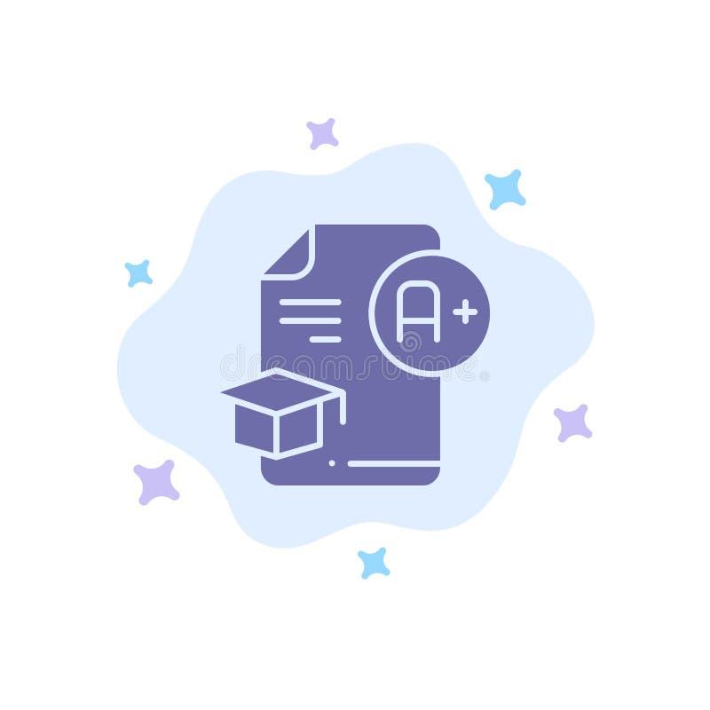 Dokument, nakrętka, edukacja, skalowanie, A+ Błękitna ikona na abstrakt chmury tle ilustracji