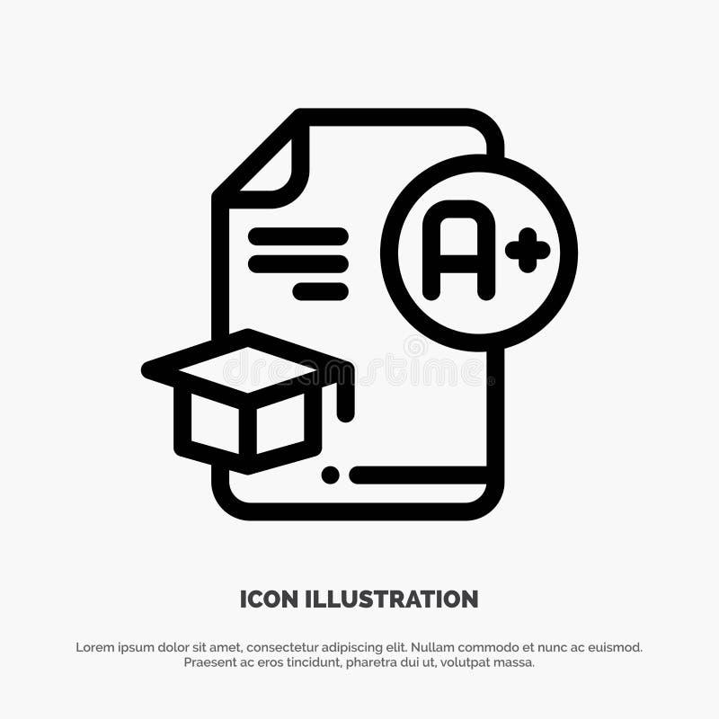 Dokument, nakrętka, edukacja, skalowanie, A+ linii ikony wektor royalty ilustracja