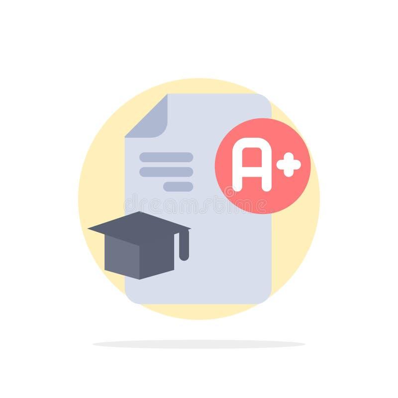 Dokument, nakrętka, edukacja, skalowanie, A+ okręgu Abstrakcjonistycznego tła koloru Płaska ikona ilustracja wektor