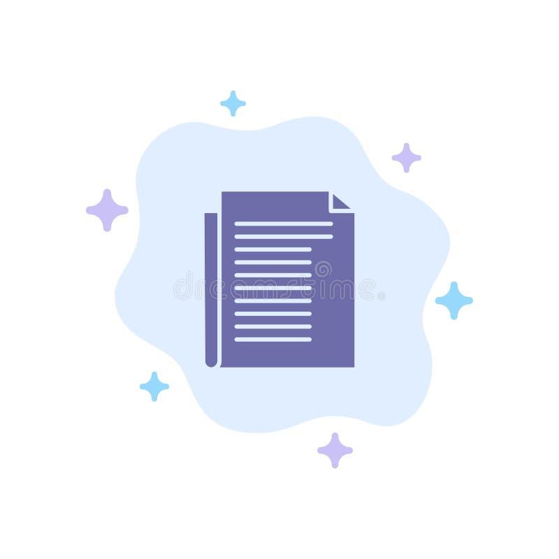 Dokument, notatka, raport, Papierowa Błękitna ikona na abstrakt chmury tle ilustracja wektor