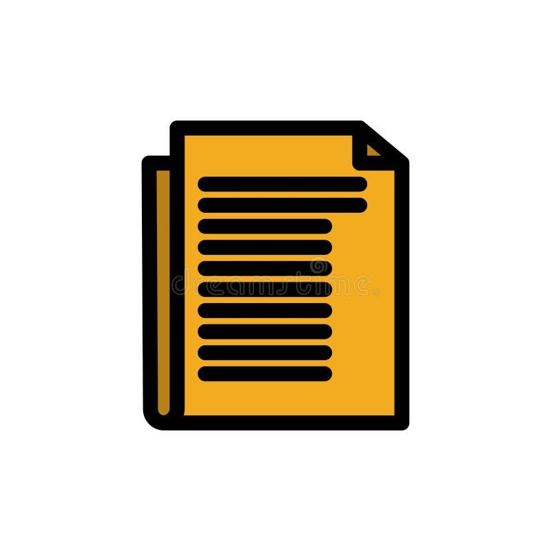 Dokument, notatka, raport, Papierowa Płaska kolor ikona Wektorowy ikona sztandaru szablon royalty ilustracja