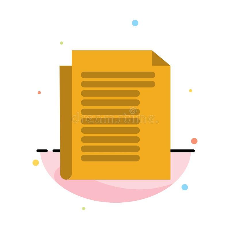 Dokument, notatka, raport, Papierowy Abstrakcjonistyczny Płaski kolor ikony szablon ilustracja wektor