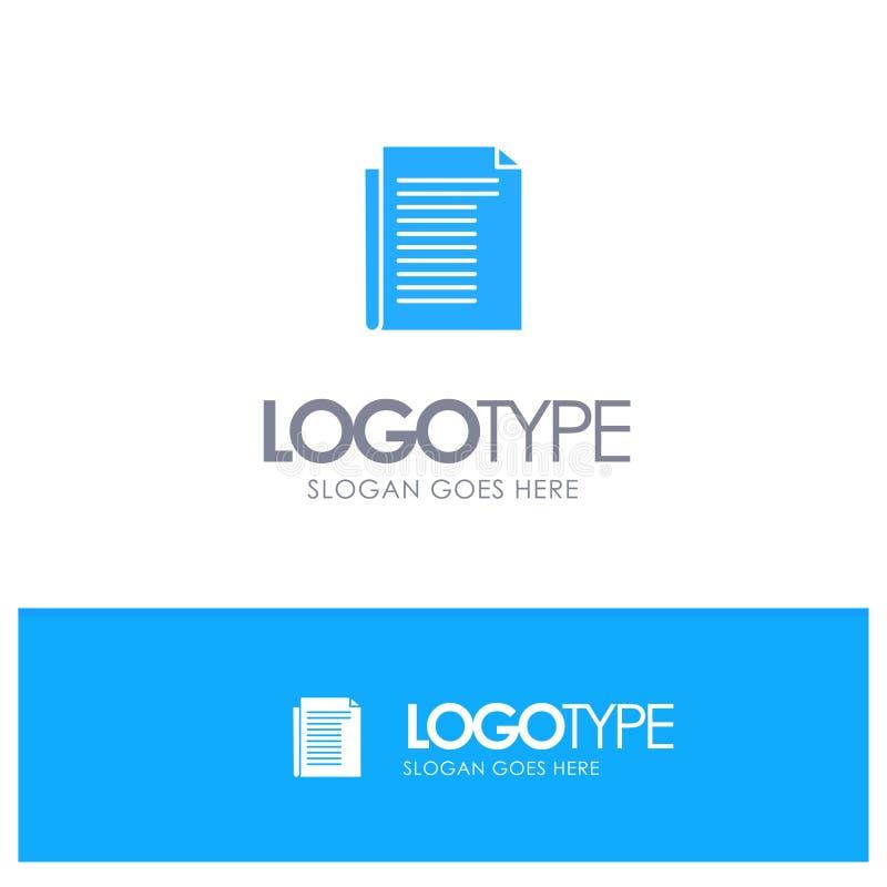 Dokument, notatka, raport, Papierowy Błękitny Stały logo z miejscem dla tagline royalty ilustracja