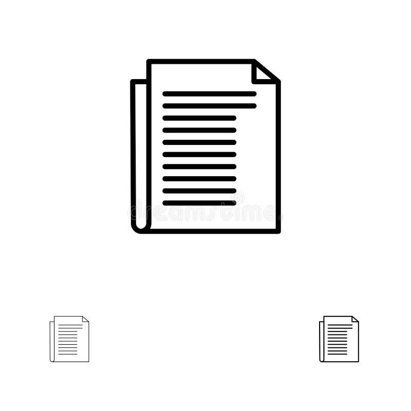 Dokument, notatka, raport, Papierowy czerni linii ikony set, Śmiały i cienki ilustracja wektor