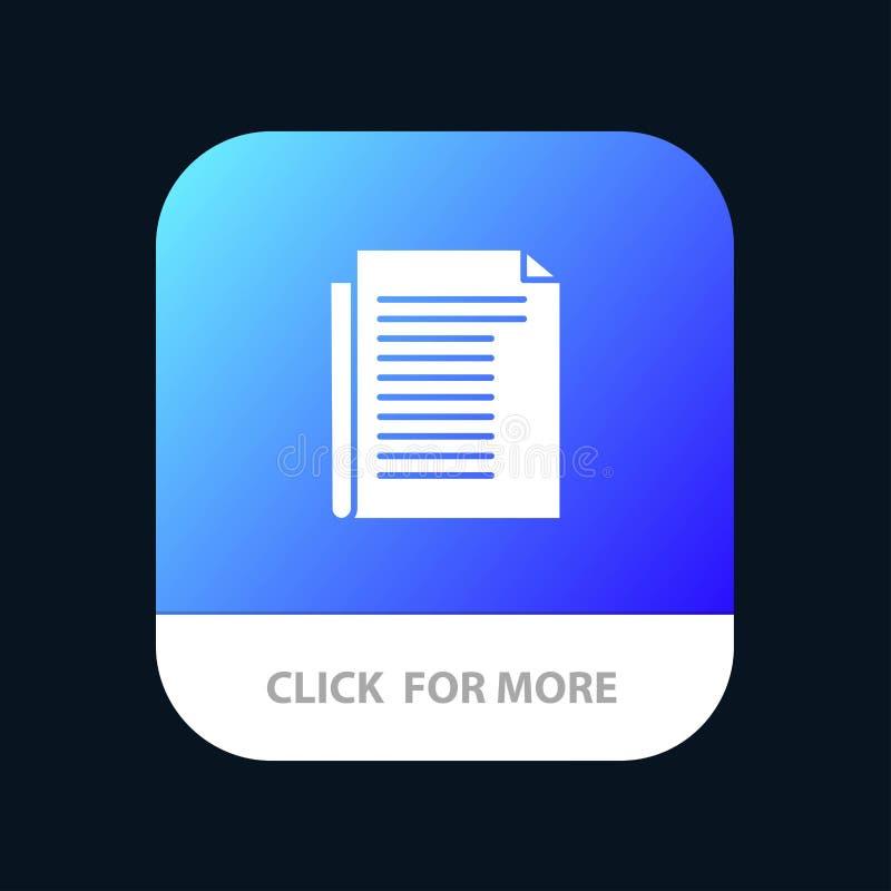 Dokument, notatka, raport, Papierowy Mobilny App guzik Android i IOS glifu wersja royalty ilustracja