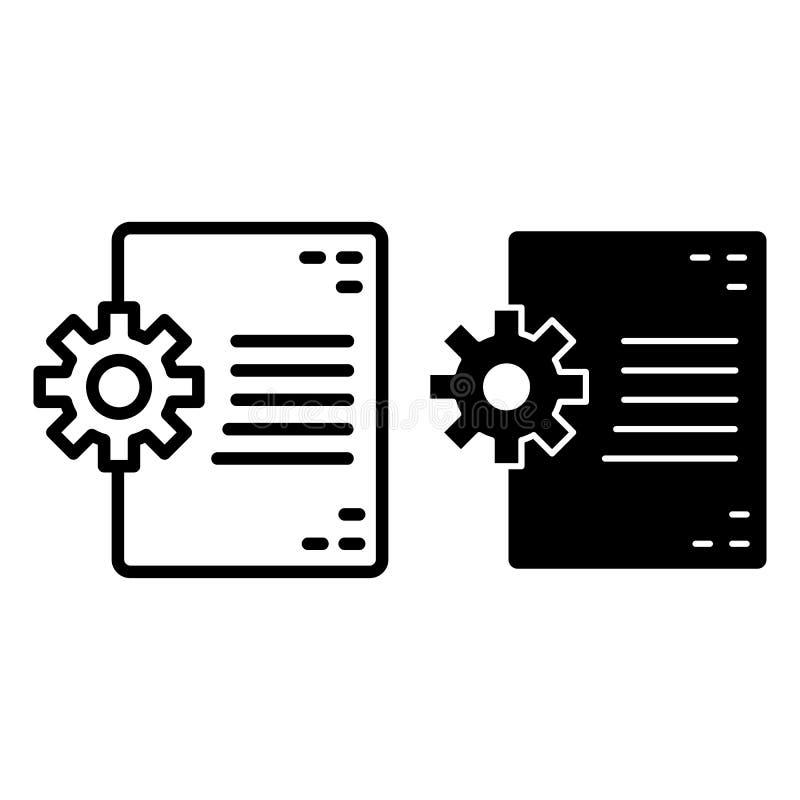 Dokument- och kugghjullinje och skårasymbol Dokument i den framkallande vektorillustrationen som isoleras på vit Mapp och kugghju stock illustrationer