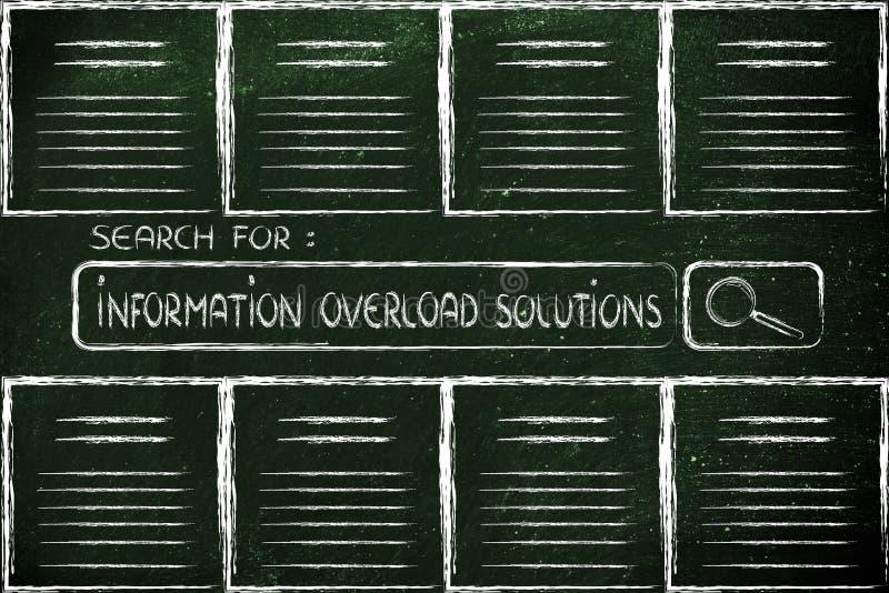 Dokument och sökandestång som söker efter solut för informationsöverbelastning vektor illustrationer