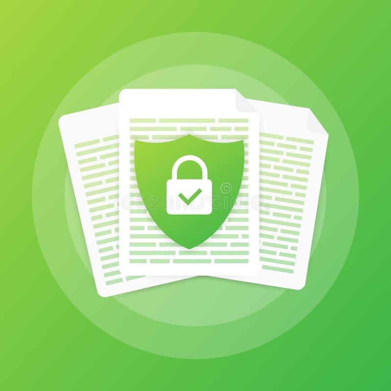 Dokument ochrony pojęcie, poufna informacja i prywatność, Bezpiecznie dane z papierem doc staczają się osłonę i chronią royalty ilustracja