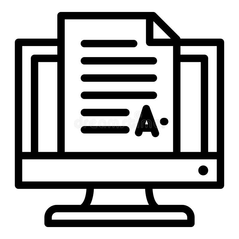 Dokument på skärmsymbolen, översiktsstil stock illustrationer