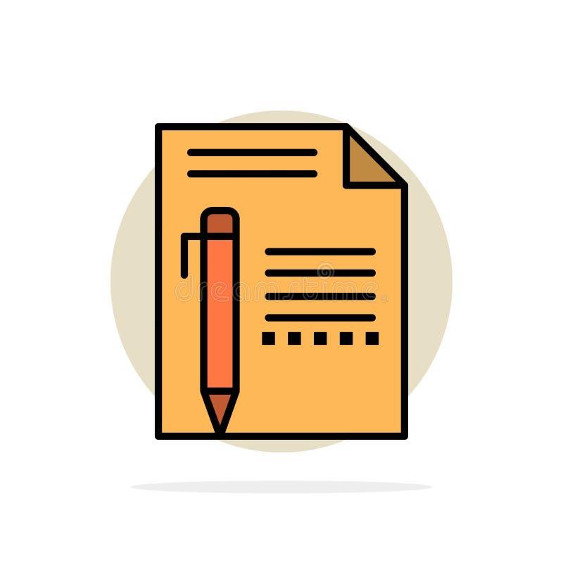 Dokument, Redaguje, Wzywa, Tapetuje, ołówek, Pisze Abstrakcjonistycznemu okręgu tłu Płaskiej kolor ikonie ilustracji