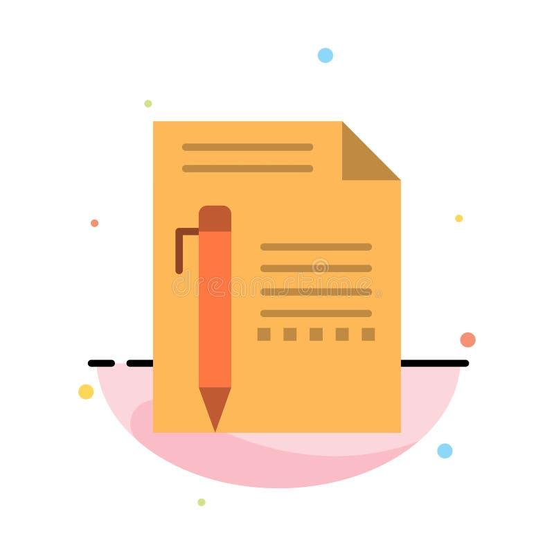 Dokument, Redaguje, Wzywa, Tapetuje, ołówek, Pisze Abstrakcjonistycznym Płaskim kolor ikony szablonie royalty ilustracja