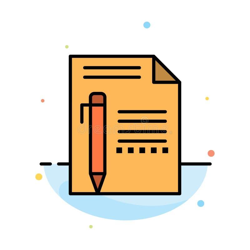 Dokument, Redaguje, Wzywa, Tapetuje, ołówek, Pisze Abstrakcjonistycznym Płaskim kolor ikony szablonie ilustracja wektor
