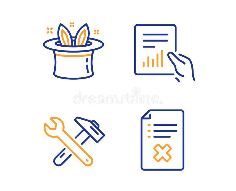 Dokument, sztuczka i Spanner narzędziowe ikony ustawiać, Odrzut kartoteki znak Kartoteka z diagramem, Magiczny kapelusz, naprawa  royalty ilustracja