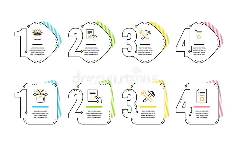 Dokument, sztuczka i Spanner narz?dziowe ikony ustawia?, Odrzut kartoteki znak Kartoteka z diagramem, Magiczny kapelusz, naprawa  ilustracja wektor