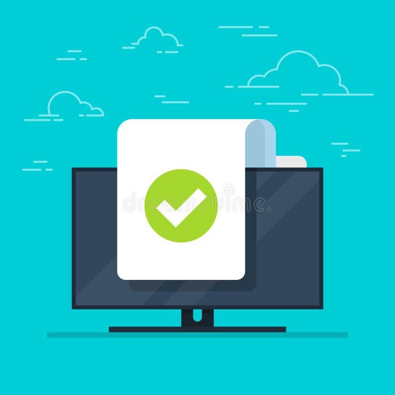 Dokument und Prüfzeichen vector Ikone auf Monitorhintergrund Konzept oder korrektes Form- oder Vereinbarungssymbol Flache Karikat stock abbildung