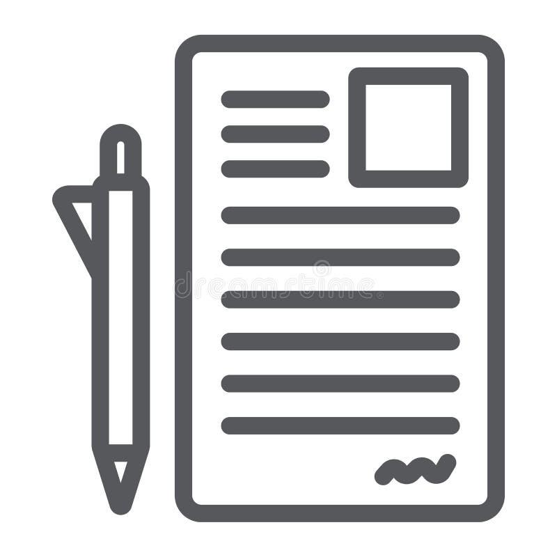 Dokument und Stiftlinie Ikone, Büro und Papier, Zeichenformzeichen, Vektorgrafik, ein lineares Muster auf einem weißen Hintergrun lizenzfreie abbildung