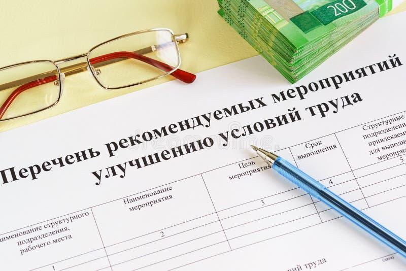 Dokument w Rosyjskiej liście polecać miary ulepszać warunki prakich fotografia stock